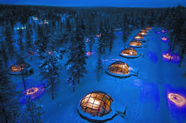 Igloos view from air Kakslauttanen